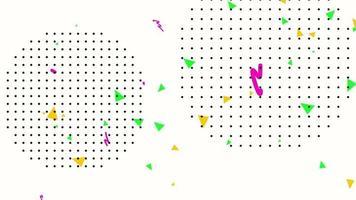 movimento geométrico abstrato em ziguezague e pontos, fundo branco de memphis video