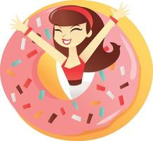 caricatura, donut, niña, sorpresa vector