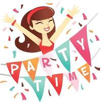 Cartoon Brunette Girl with Party Time Bunting vector