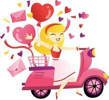 dibujos animados chica rubia montando scooter entregando regalos vector