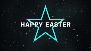animação texto feliz Páscoa na moda e plano de fundo do clube com estrela de néon na galáxia