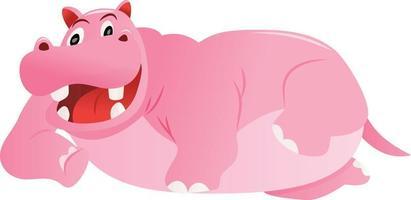 Cartoon Pink Hippo Lying Down vector