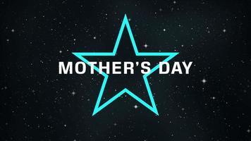animação texto dia das mães na moda e plano de fundo do clube com estrela azul neon na galáxia video