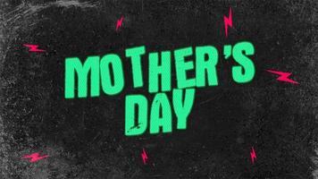 animação texto dia das mães em hipster preto e fundo grunge com raios vermelhos video