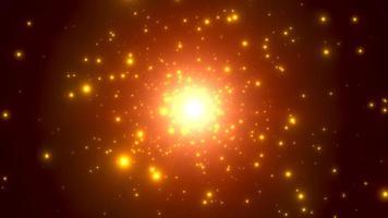 Bewegung Goldpartikel und Sterne in der Galaxie, abstrakter Hintergrund video