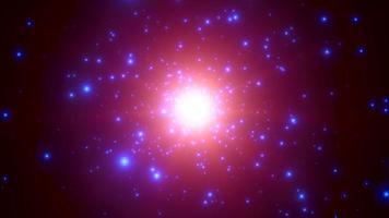 Bewegung lila Teilchen und Sterne in der Galaxie, abstrakter Hintergrund video