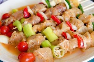 Shish kebabs on sticks photo