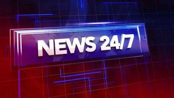 Animación texto 24 noticias y gráfico de introducción de noticias con líneas y mapa del mundo en estudio, fondo abstracto video