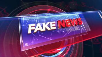 animação texto notícias falsas e gráfico de introdução de notícias com círculos e mapa-múndi no estúdio, fundo abstrato