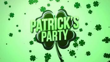 animação closeup patricks party text and motion trevos verdes grandes e pequenos no fundo do dia de São Patrício