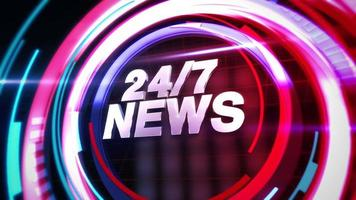Animación texto 24 noticias y gráfico de introducción de noticias con líneas abstractas en estudio, fondo de noticias video