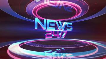 Animación texto 24 noticias y gráfico de introducción de noticias con líneas y formas circulares en estudio, fondo abstracto video