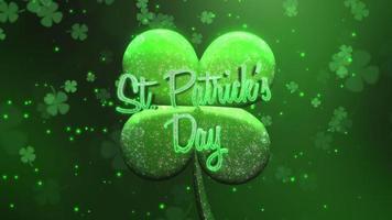 animação closeup dia de patricks texto e movimento grandes trevos verdes com brilhos no fundo verde de São Patrício