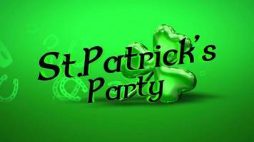 animação closeup st. Patrick party text and motion grande trevo verde com ferradura no fundo brilhante do dia de São Patrício