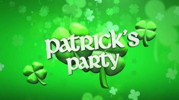 animação close up patricks party text and motion pequenos trevos verdes no fundo brilhante do dia de São Patrício