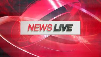 Animation text Live News and news intro graphic with red lines and circular shapes in studio, abstract background video