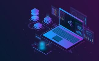 información de análisis isométrico de la computadora portátil. concepto futurista.
