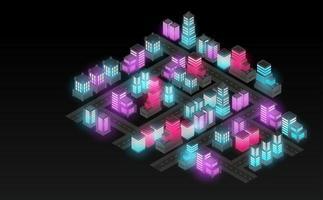 Isometric city lanescape. Futuristic concept. vector