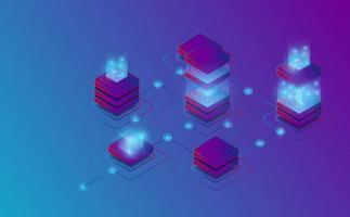 Conexión isométrica a la cadena de bloques. concepto futurista. vector