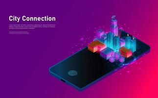 Conexión isométrica de ciudad inteligente en el paisaje de teléfonos inteligentes. concepto futurista. vector