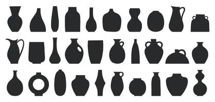 Set of different shapes of decorative vases and pots vector illustration. Minimalist shapes in black colors. Contemporary art for home decor. Design element for poster, cover, brochure