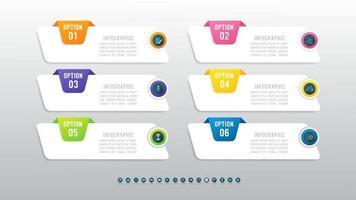 concepto creativo infografía de 6 pasos con lugar para el texto. vector
