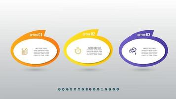 Creative concept for process diagram infographic with 3 icons options or steps. vector