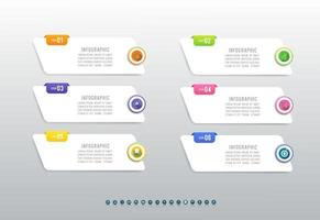 Business 6 steps process chart infographics with with icons for presentation. vector