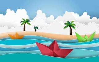 Summer beach palm trees on the beach with boat sailing in the sea. vector