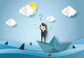 Businessman standing on paper boat looking for help in ocean with sharks. Business problems concept vector