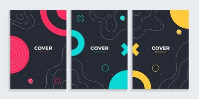 Memphis cover design collection with freehand lines drawing vector