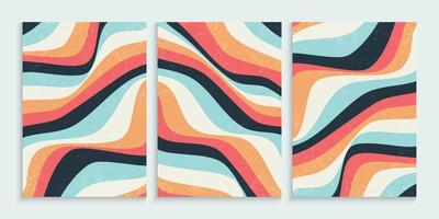 Abstract colorful wavy lines background set vector