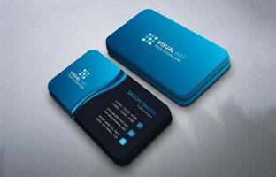 Blue Curve Simple Business Card vector