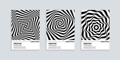 Black and white cover design set with wavy striped lines vector