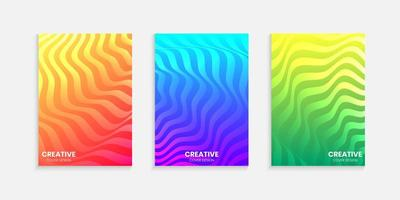 Halftone gradients minimal cover design set with wavy lines vector
