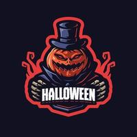 personaje de mascota de calabaza de halloween vector