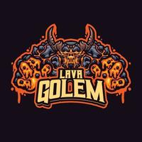 Lava golem mascot character vector