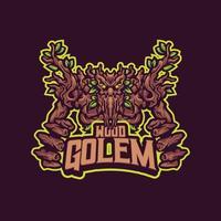 Wood golem mascot character vector