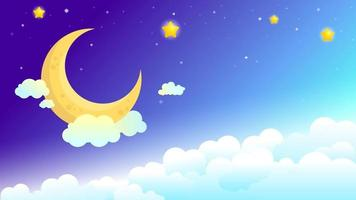 Beautiful Night Sky with Moon and Stars vector