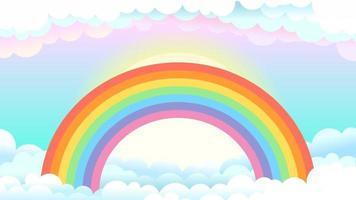 arco iris en el cielo con nubes, fondo de fantasía vector