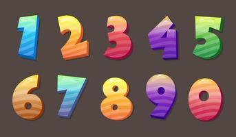 Diseño de números coloridos de estilo 3d vector