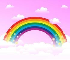 arcoiris en las nubes, fondo de fantasía vector