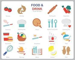 icono de comida y bebida para sitio web, documento, diseño de carteles, impresión, aplicación. icono de concepto de comida y bebida estilo plano. vector