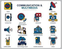 Communication Multimedia icon set for website, document, poster design, printing, application. Communication concept icon filled outline style. vector