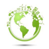 ciudad ecológica, medio ambiente mundial y concepto de desarrollo sostenible, ilustración vectorial vector