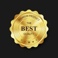 Luxury gold badge and label premium quality product, vector illustration