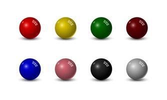 Set of snooker balls isolated on white background, vector illustration