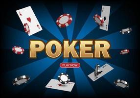 Poker game casino online, web template for internet, vector illustration