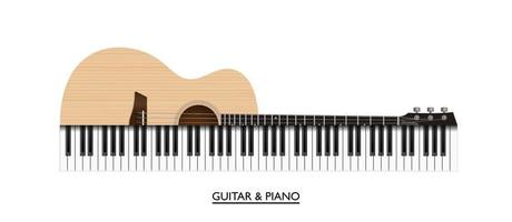 Acoustic guitar and piano keys abstract music instrument, vector illustration