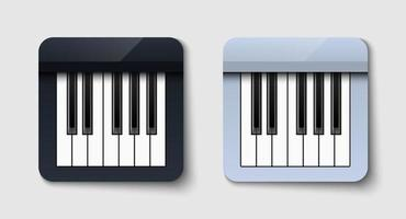 Black and white piano icon on white background, vector illustration
